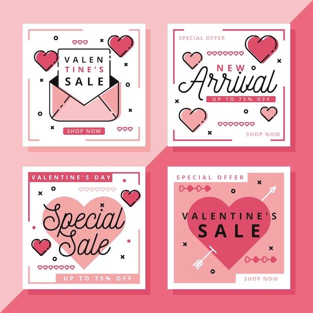 Collection De Messages Instagram Pour La Vente De La Saint-valentin Vecteur gratuit