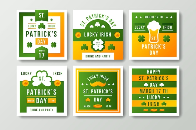 Collection De Messages Instagram De St Patricks Day Vecteur gratuit