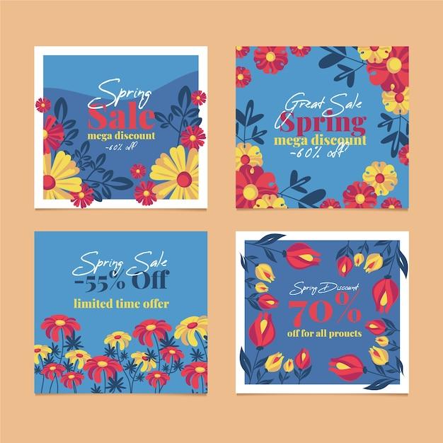 Collection De Messages Instagram De Vente De Printemps Avec Des Fleurs Multicolores Vecteur gratuit