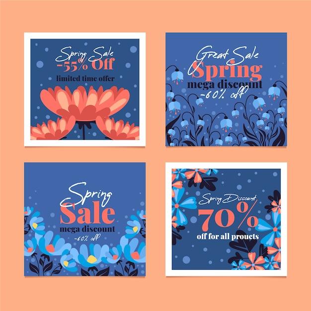 Collection De Messages Instagram Vente De Printemps Avec Des Fleurs Et Remise Vecteur gratuit