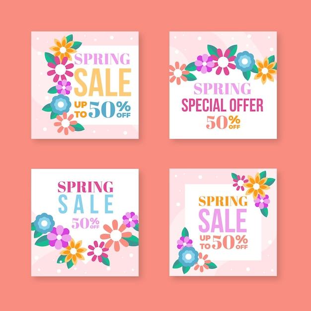 Collection De Messages Instagram De Vente De Printemps Avec Des Fleurs Vecteur gratuit