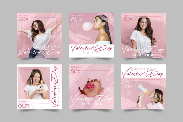Collection De Messages Instagram Vente Saint Valentin Vecteur gratuit