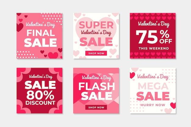 Collection De Messages Instagram Vente Saint Valentin Vecteur gratuit