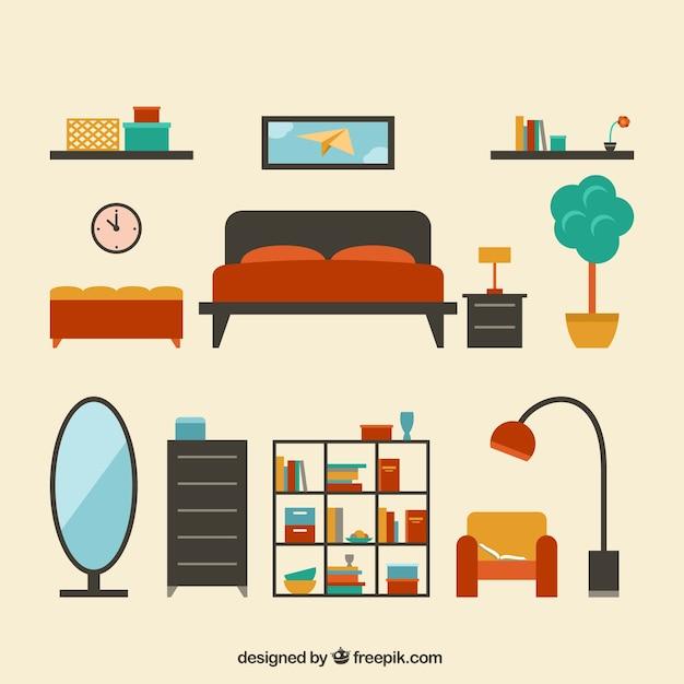 Collection de meubles modernes Vecteur gratuit