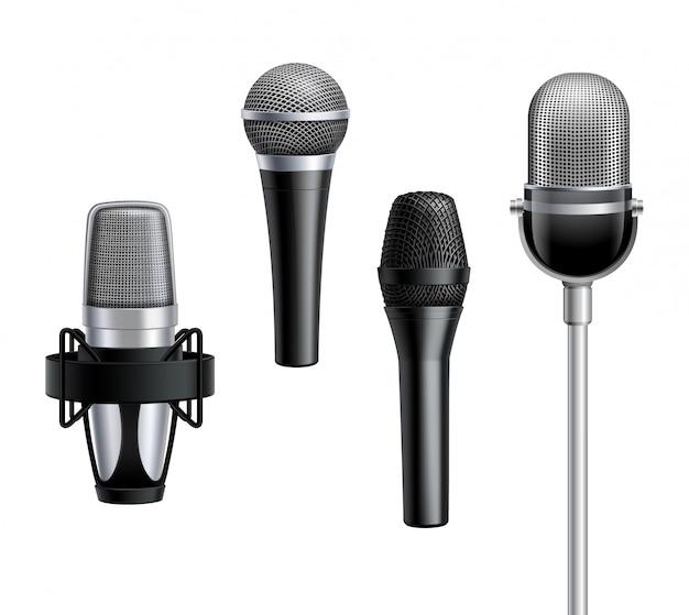 Collection De Microphones Dans Un Style Réaliste Vecteur gratuit