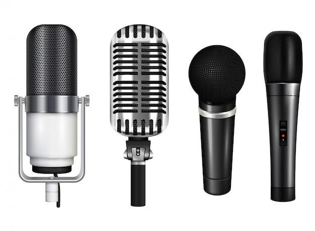 Collection De Microphones Professionnels Pour Karaoké Et Concert Dans Un Style Réaliste Isolé Sur Fond Blanc Illustration Vecteur gratuit