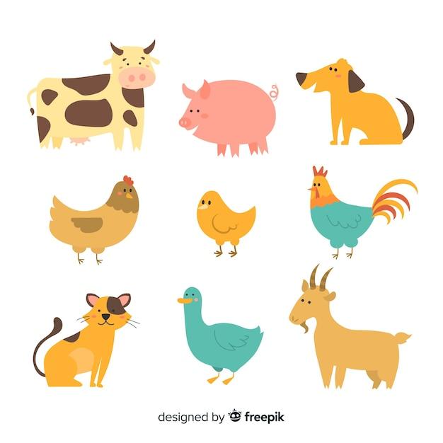 Collection mignonne avec des animaux domestiques Vecteur gratuit