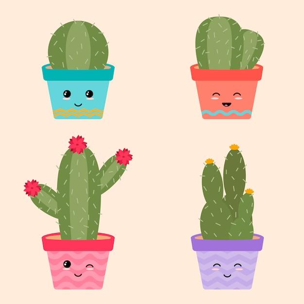 Collection mignonne de cactus Vecteur Premium