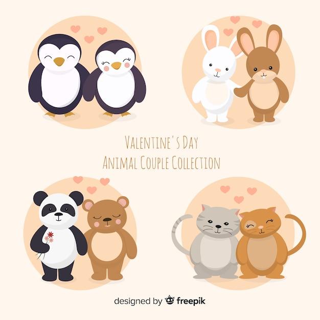 Collection mignonne de couple animal saint valentin Vecteur gratuit