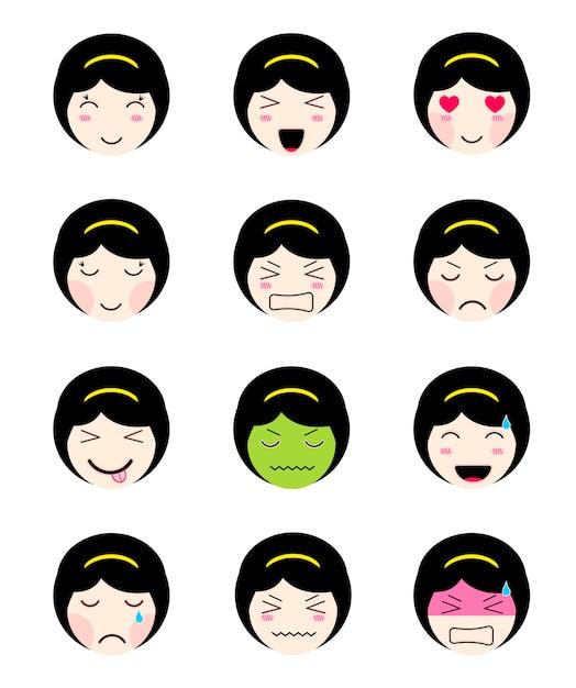 Collection Mignonne D'emoji. Kawaii Fille Asiatique Face à Différentes Humeurs Vecteur Premium