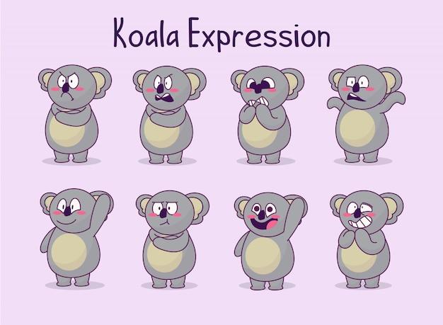 Collection mignonne d'illustration d'expression de koala Vecteur Premium