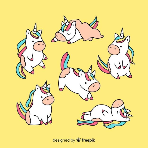 Collection mignonne de personnages de licorne kawaii Vecteur gratuit
