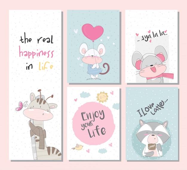 Collection mignonne set de cartes animaux sertie de souris girafe raton laveur Vecteur Premium