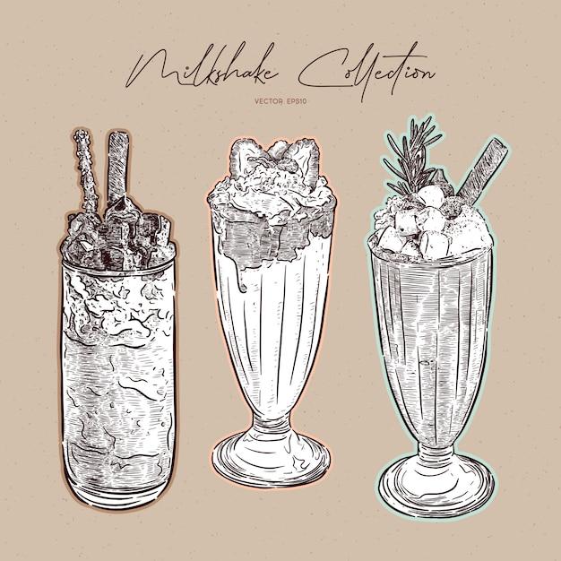 Collection de milkshake, croquis dessiné à la main Vecteur Premium