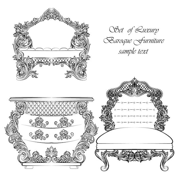 Collection de mobilier de luxe Vecteur gratuit