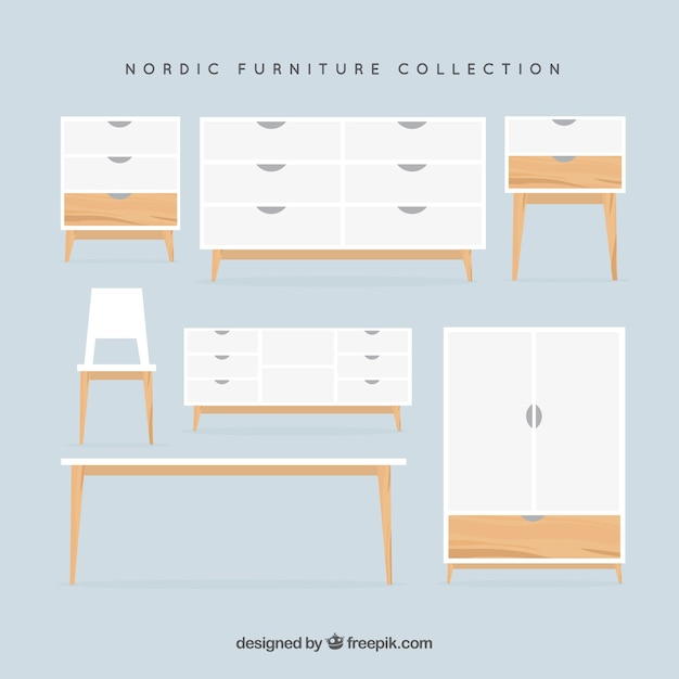 Collection De Mobilier Nordique Vecteur gratuit