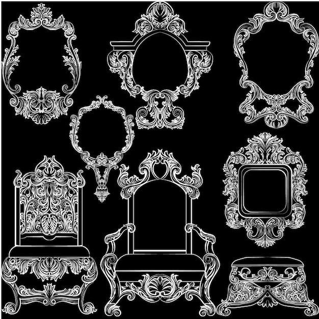 Collection de mobilier vintage blanc Vecteur gratuit