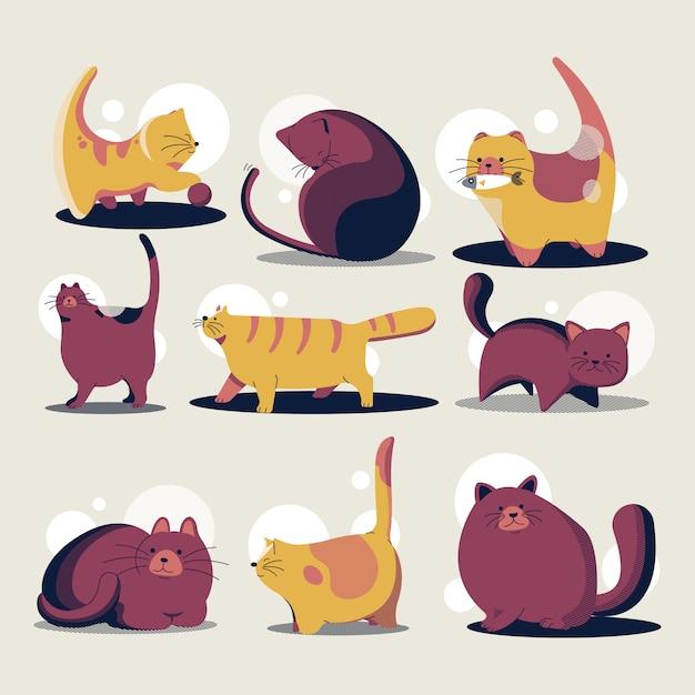 Collection de modèle de dessin animé mignon de chats de dessin animé Vecteur Premium