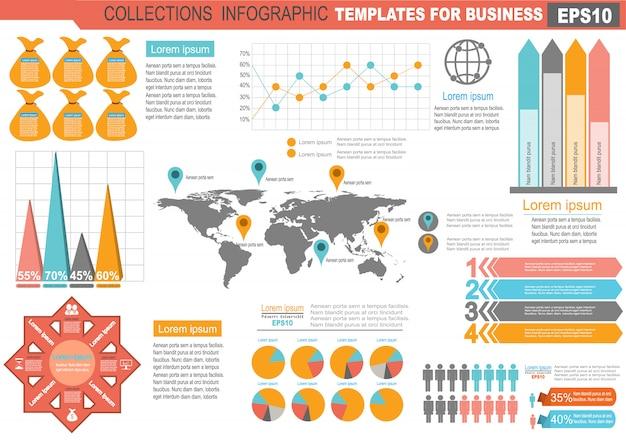 Collection de modèle d'éléments de jeu d'infographie pour les entreprises Vecteur Premium