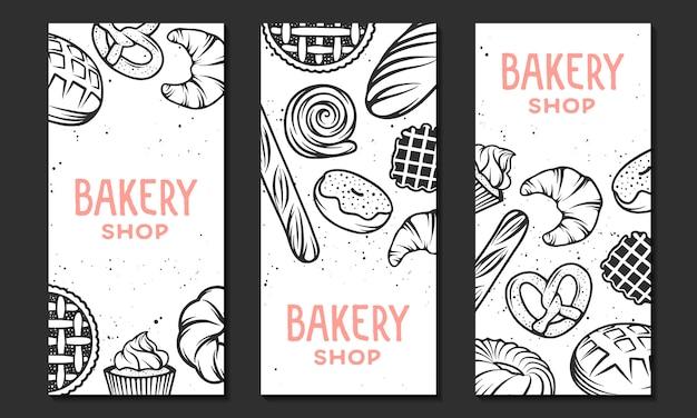 Collection de modèle de flyer de boulangerie linéaire. Vecteur Premium