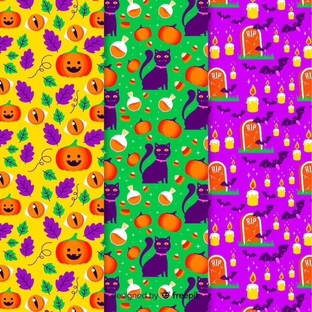 Collection de modèle d'halloween plat Vecteur gratuit