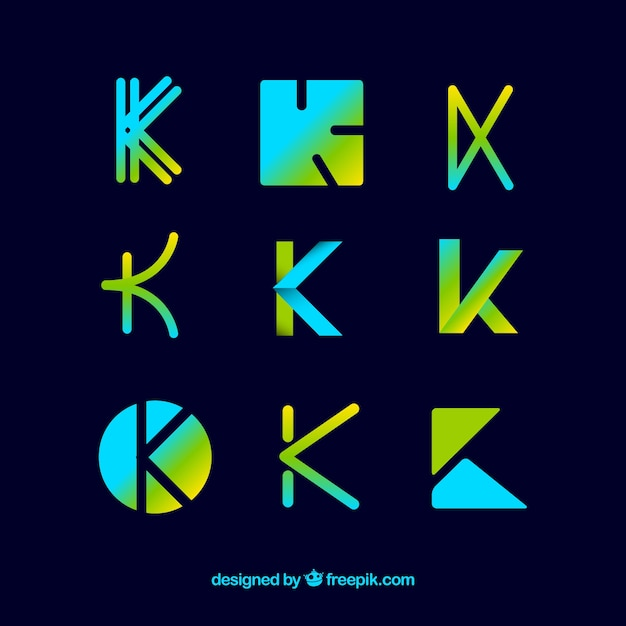 Collection de modèle de lettre logo k Vecteur gratuit