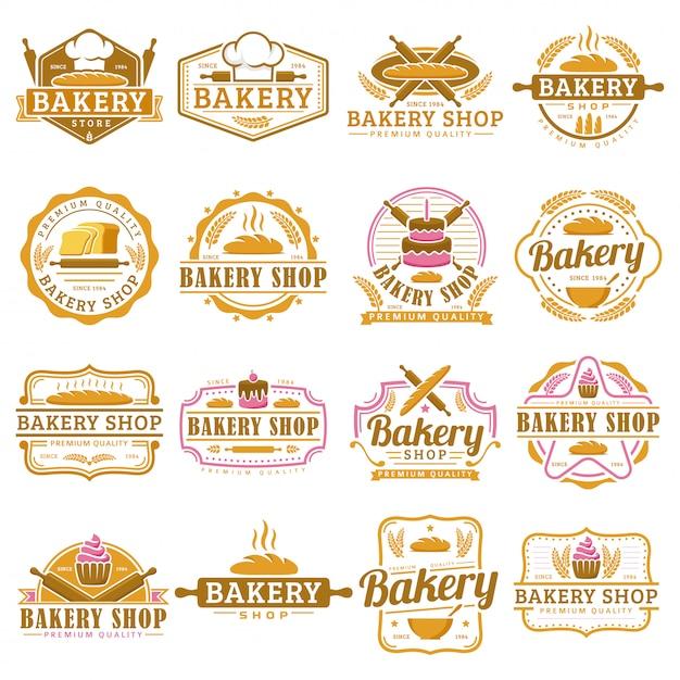 Une Collection De Modèle De Logo De Boulangerie, Ensemble Emblème De Boulangerie, Pack De Logo De Style Rétro Vintage. Vecteur Premium