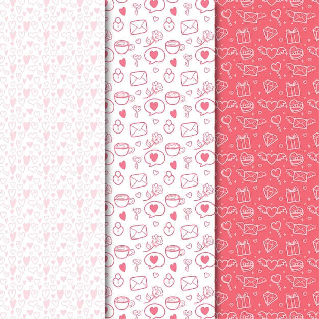 Collection De Modèle Sans Couture Plat Saint-valentin Avec Illustration Mignonne Vecteur Premium
