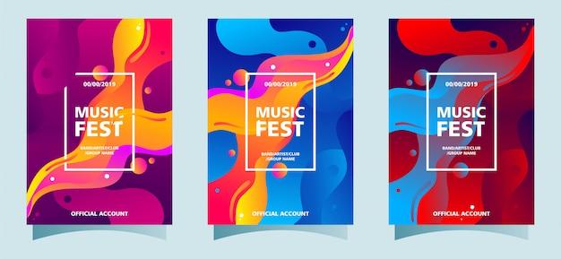Collection de modèles d'affiches musique fest avec fond fluide coloré Vecteur Premium