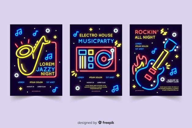 Collection de modèles d'affiches musique néon Vecteur gratuit