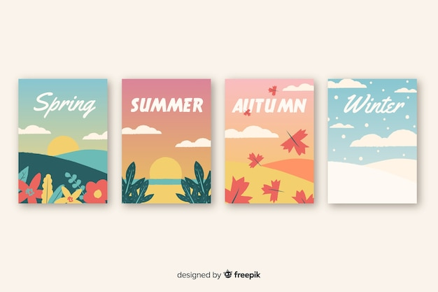 Collection de modèles d'affiches saisonnières dessinés à la main Vecteur gratuit