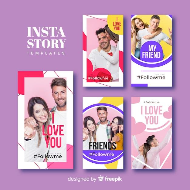 Collection de modèles d'amitiés d'instagram d'amitié Vecteur gratuit