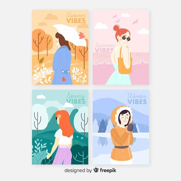 Collection de modèles d'aquarelles affiche saisonnière Vecteur gratuit