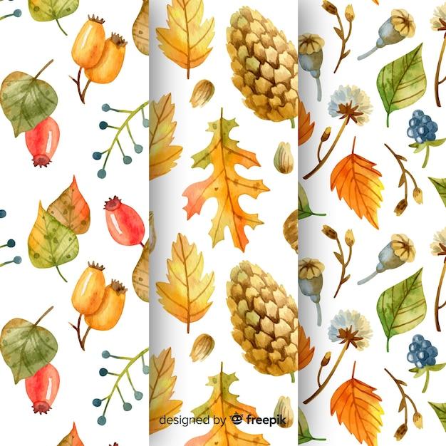 Collection de modèles d'automne d'aquarelle Vecteur gratuit