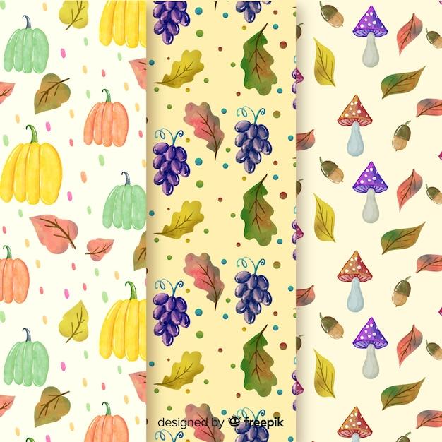 Collection de modèles automne aquarelle Vecteur gratuit