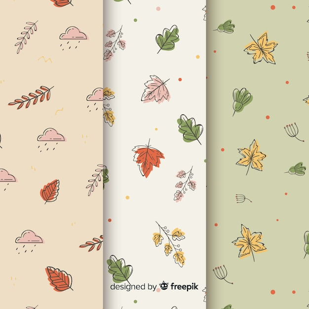 Collection de modèles automne dessinés à la main Vecteur gratuit