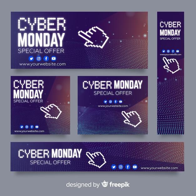 Collection de modèles de bannière cyber lundi Vecteur gratuit