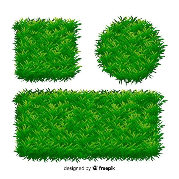 Collection de modèles de bannière d'herbe réaliste Vecteur gratuit