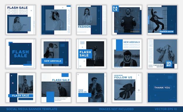Collection De Modèles De Bannière De Médias Sociaux Bleu Minimaliste Vecteur Premium