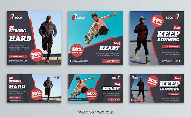 Collection de modèles de bannière de médias sociaux sport Vecteur Premium