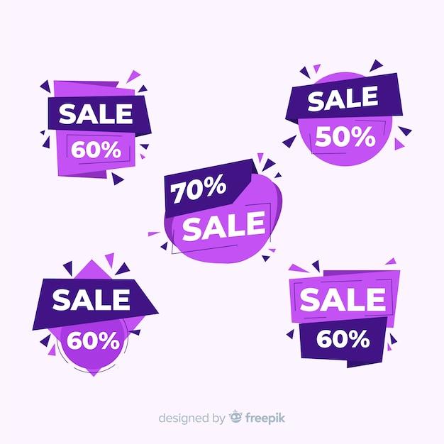 Collection de modèles de bannière de vente abstraite Vecteur gratuit