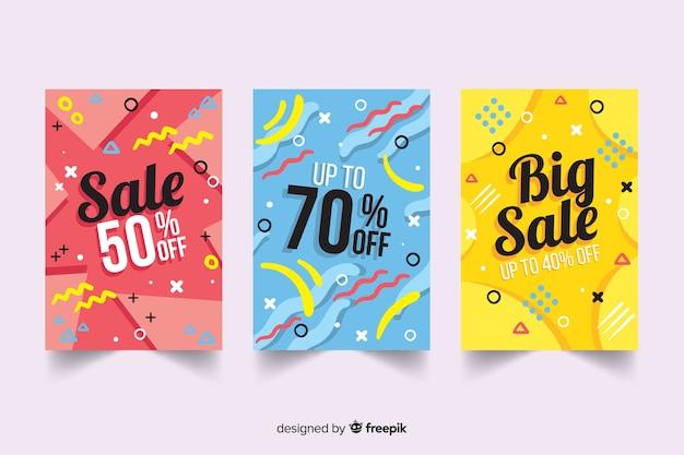 Collection de modèles de bannière de vente memphis Vecteur gratuit