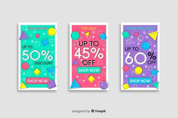 Collection de modèles de bannières de vente de memphis Vecteur gratuit