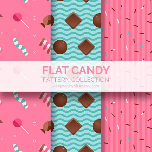Collection de modèles de bonbons colorés dans un style plat Vecteur gratuit
