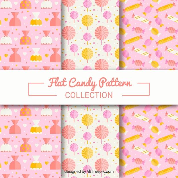 Collection de modèles de bonbons avec différentes couleurs Vecteur gratuit