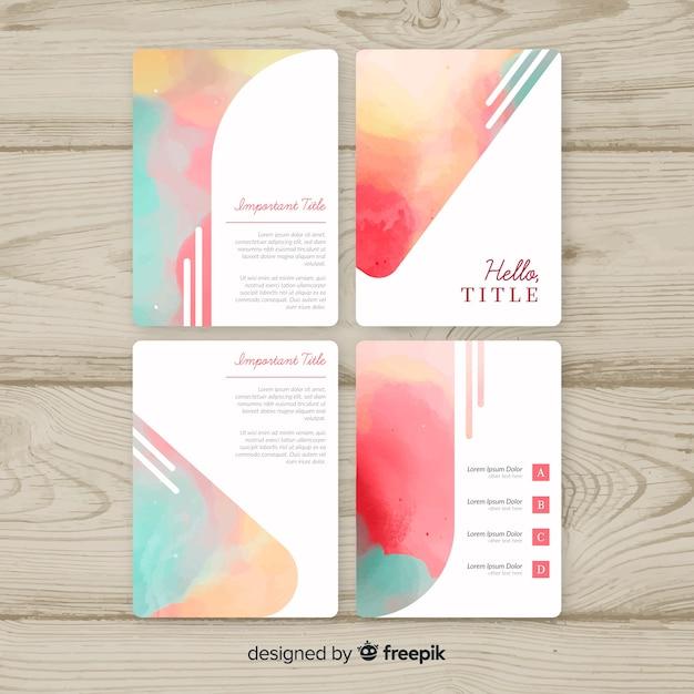 Collection de modèles de brochures aquarelle pastel Vecteur gratuit