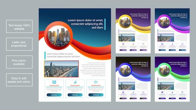 Collection de modèles de brochures pour entreprises colorées Vecteur Premium