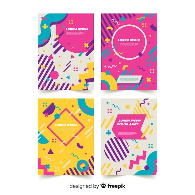 Collection de modèles de brochures de style memphis Vecteur gratuit
