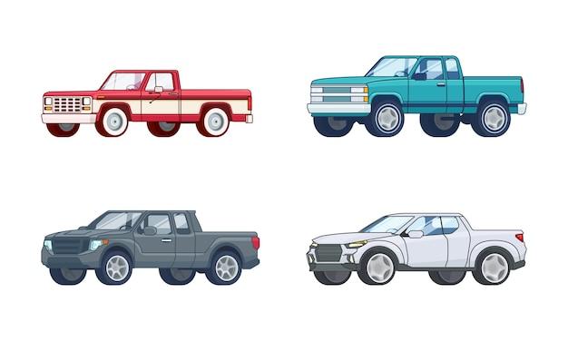 Collection De Modèles De Camionnettes Colorées Vecteur gratuit