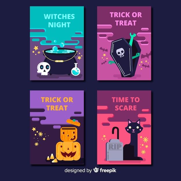 Collection de modèles de carte halloween créative Vecteur gratuit